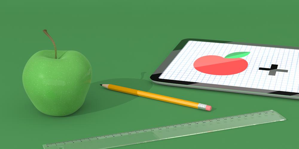 Illustrerad bild föreställande ett grönt äpple, blyertspenna, linjal och läsplatta