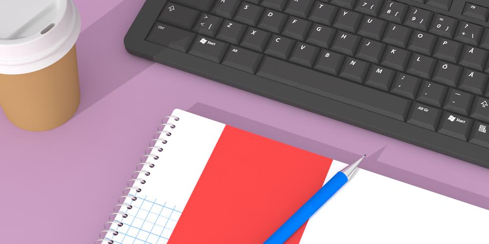 Illustrerad bild föreställande ett kollegieblock , tangentbord och take away-kaffe