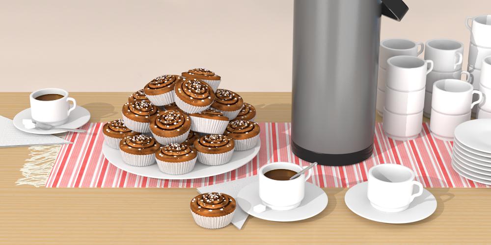 Illustrerad bild föreställande ett bord fyllt med kanelbullar, kaffekoppar och kaffetermos