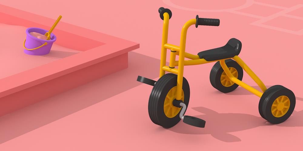 Bild på trampcykel och sandlåda. En hopphage syns i bakgrunden.
