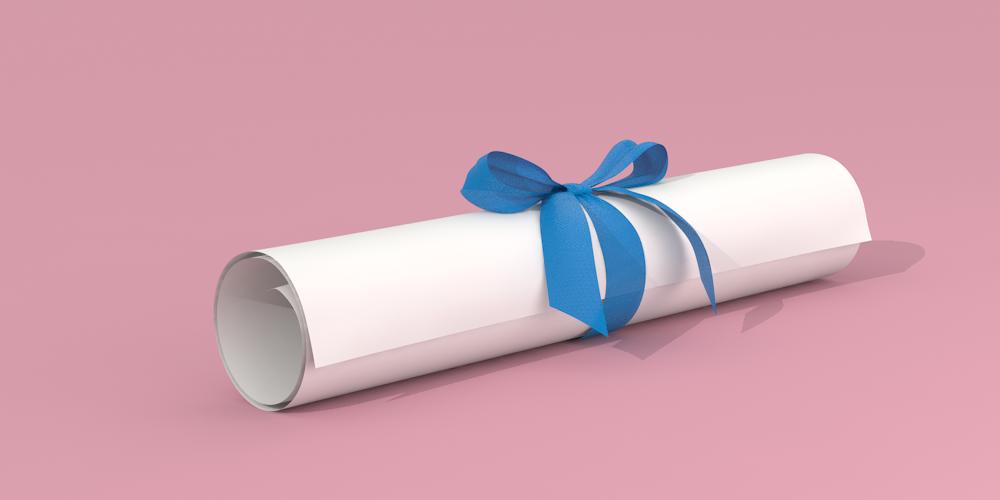 Illustrerad bild föreställande ett ihoprullat stipendium med blått band runt