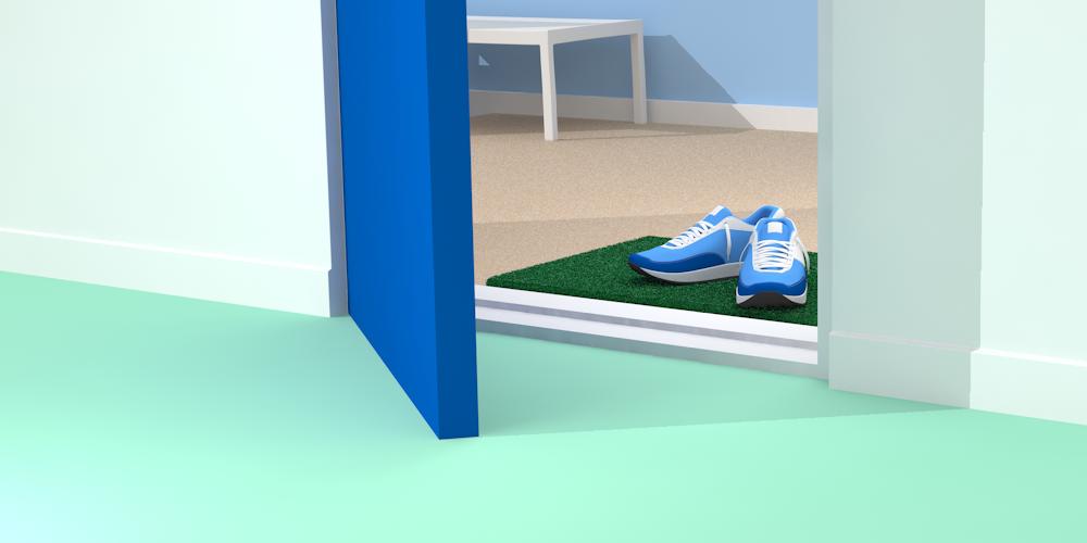 Illustrerad bild föreställande en öppen dörr med en dörrmatta med ett par jogginskor på.