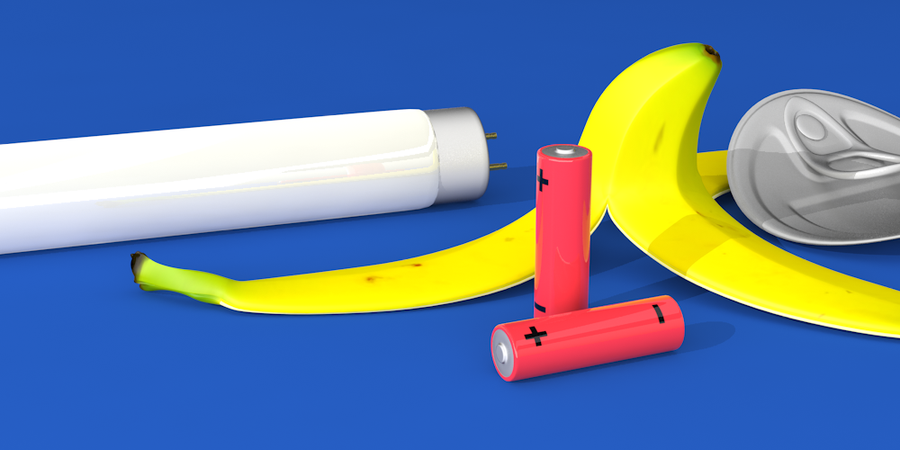 Illustrerad bild föreställande ett bananskal, lösrör och två batterier.