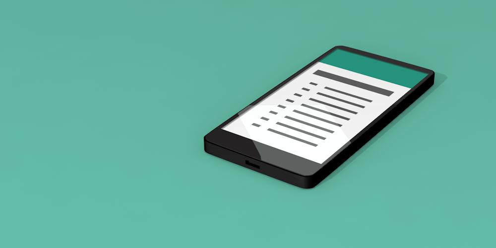 Illustrerad bild föreställande en mobiltelefon med checklista på skärmen