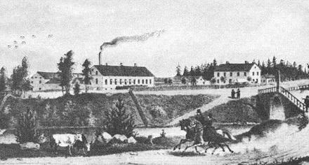 Illustration över Gustavsbro 1864