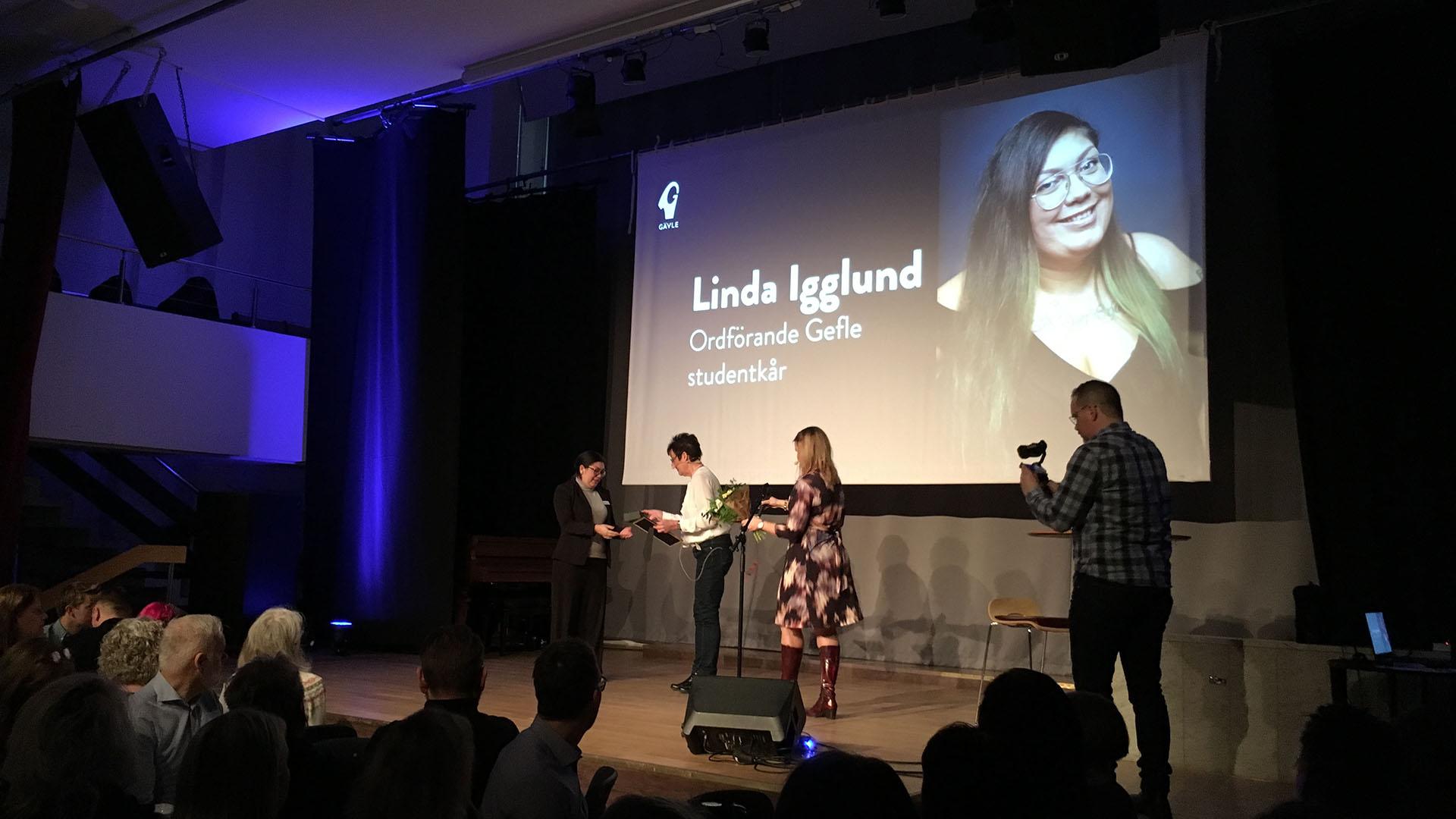 Linda Igglund får utmärkelsen Bra gjort för Gävle