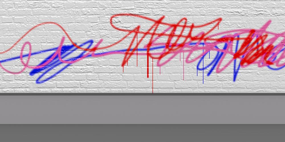 Illustrerad bild föreställande vit tegelvägg med klotter