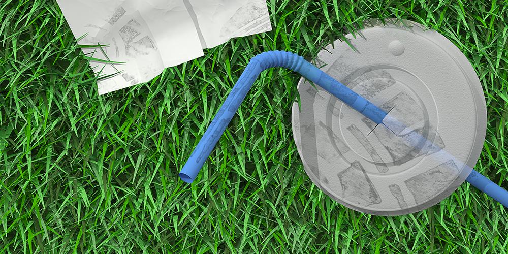 Illustrerad bild föreställande papper och en plastmugg nedskräpat i gräs.