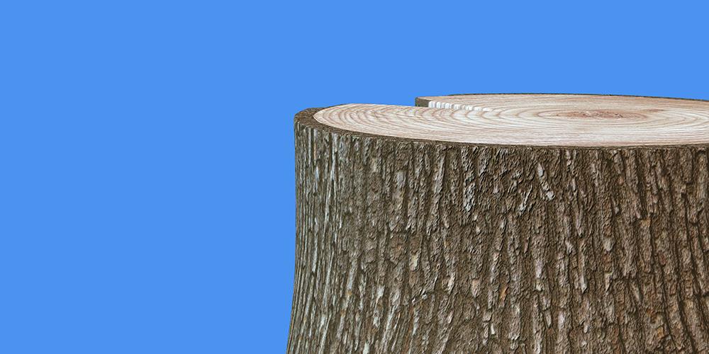 Illustrerad bild föreställande en stubbe med blå bakgrund