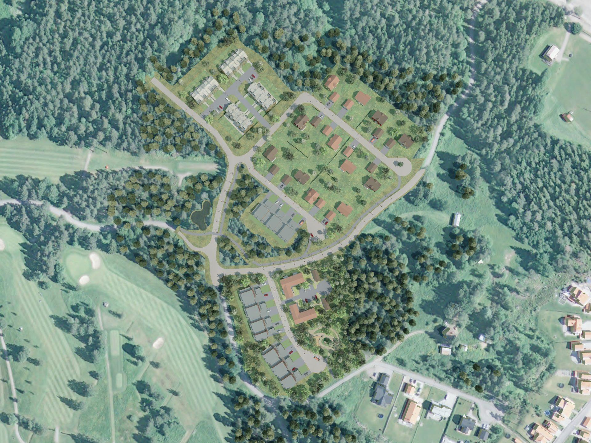 Översiktsbild över det kommande bostadsområdet Lindbacka västra.