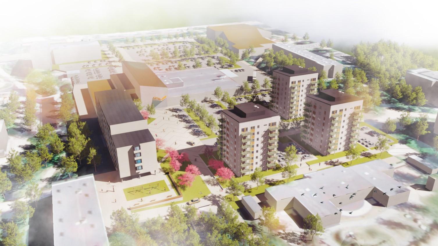 Översiktsbild över det kommande byggprojektet i Sätra centrum