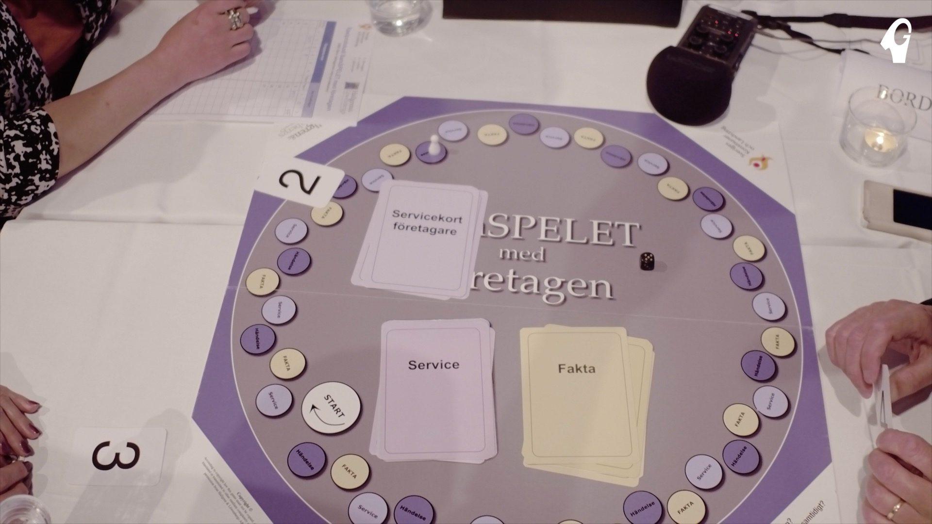 Människor runt ett bord som sitter och spelar Samspelet