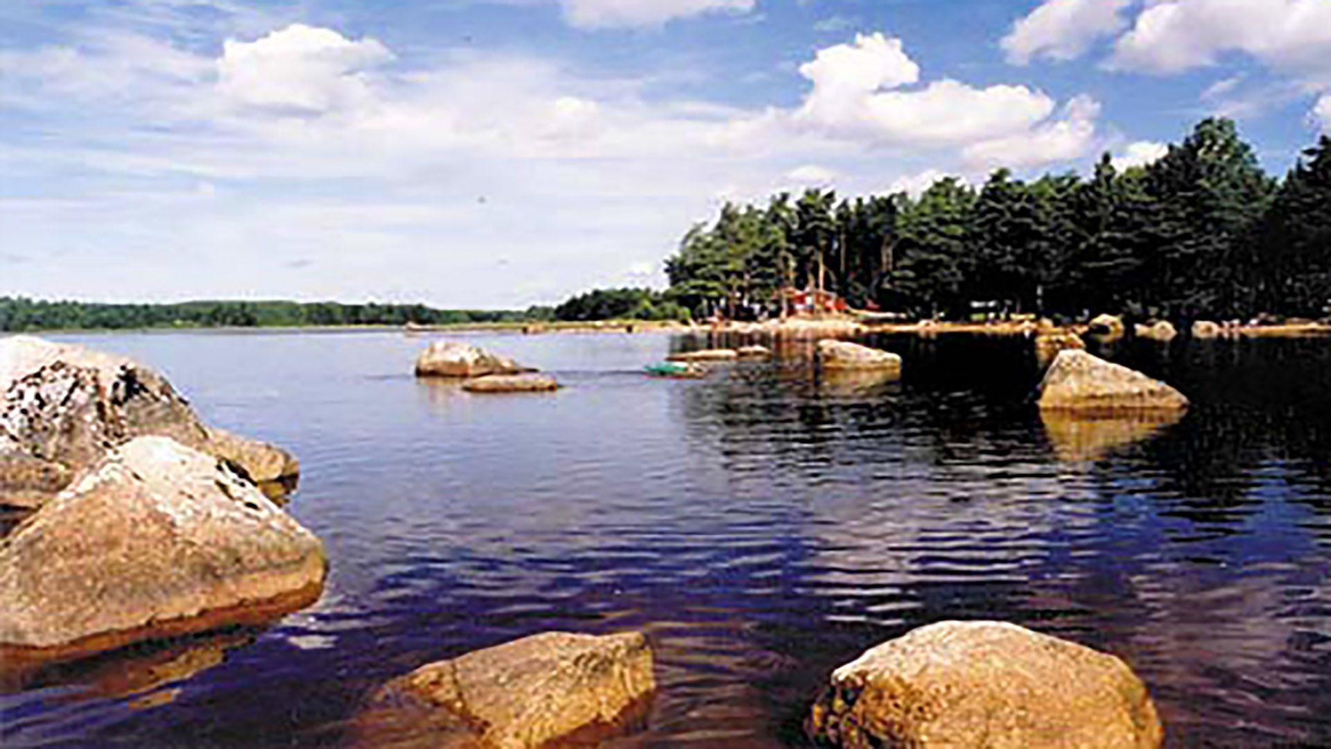 Vatten och skogsparti vid Sandnäsbadet