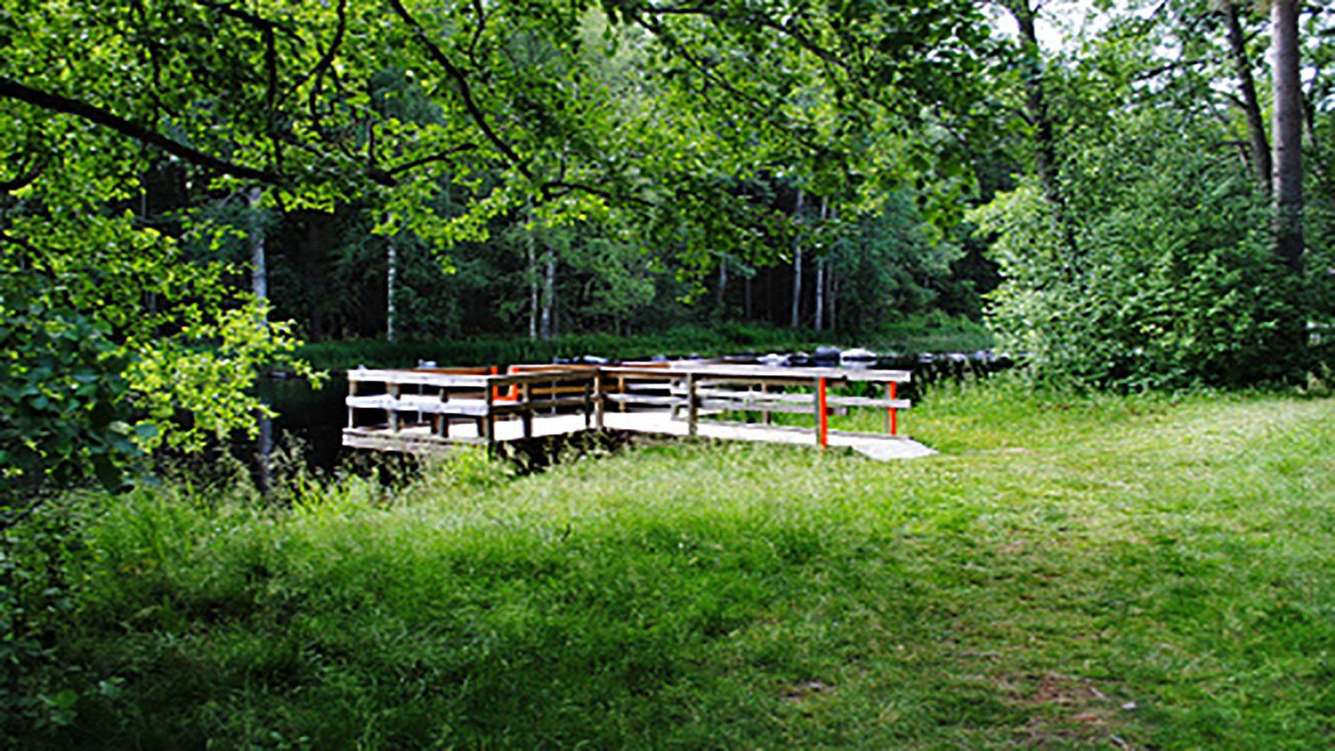 Vatten, brygga och gräsmatta vid Torsvedsbadet