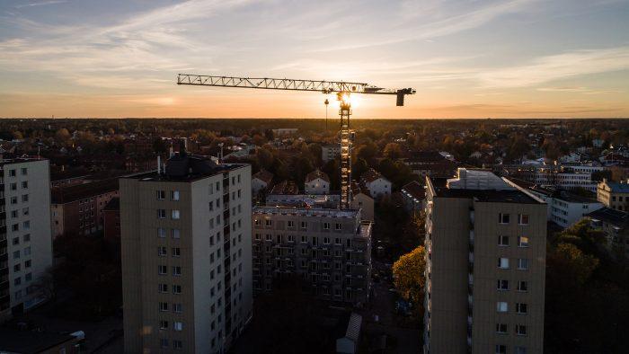 Vy över nybygge i Gävle