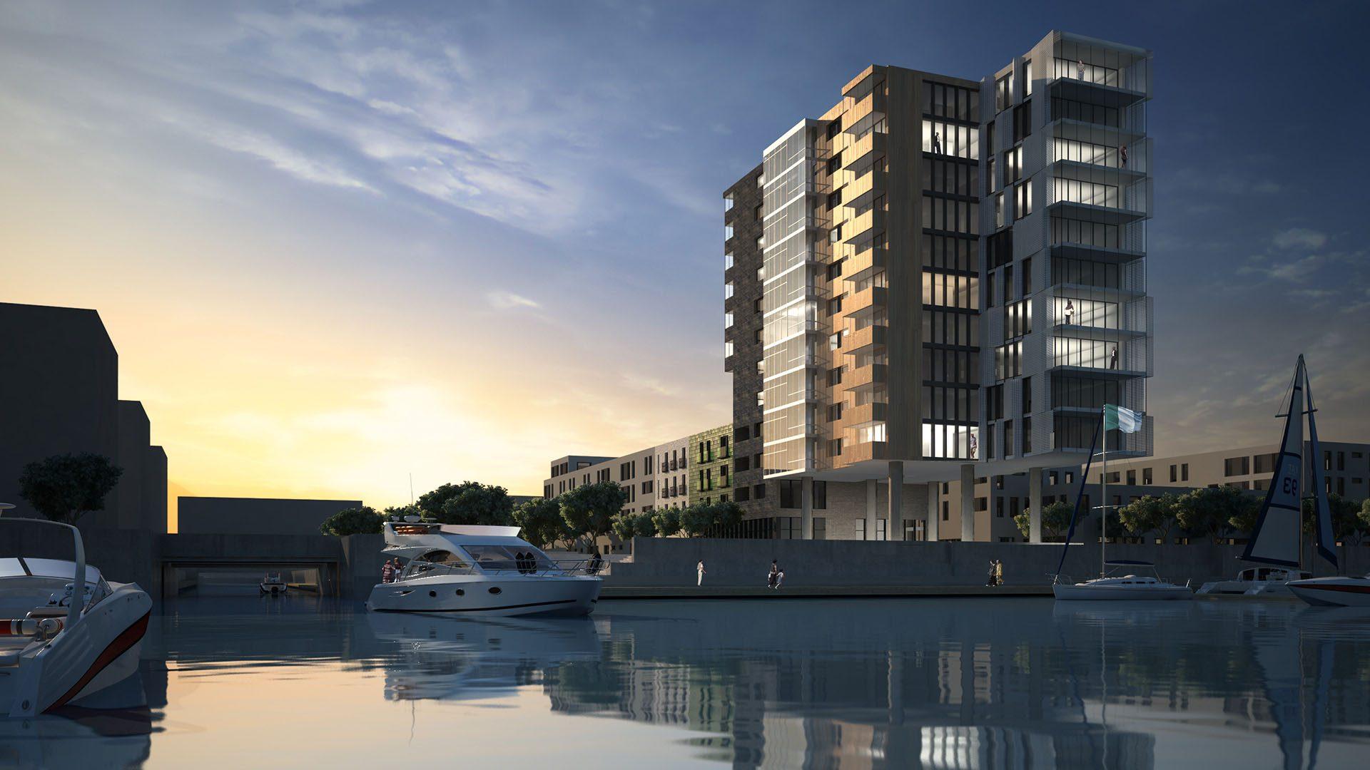 Illustration av det kommande byggprojektet Flaggan på Gävle strand