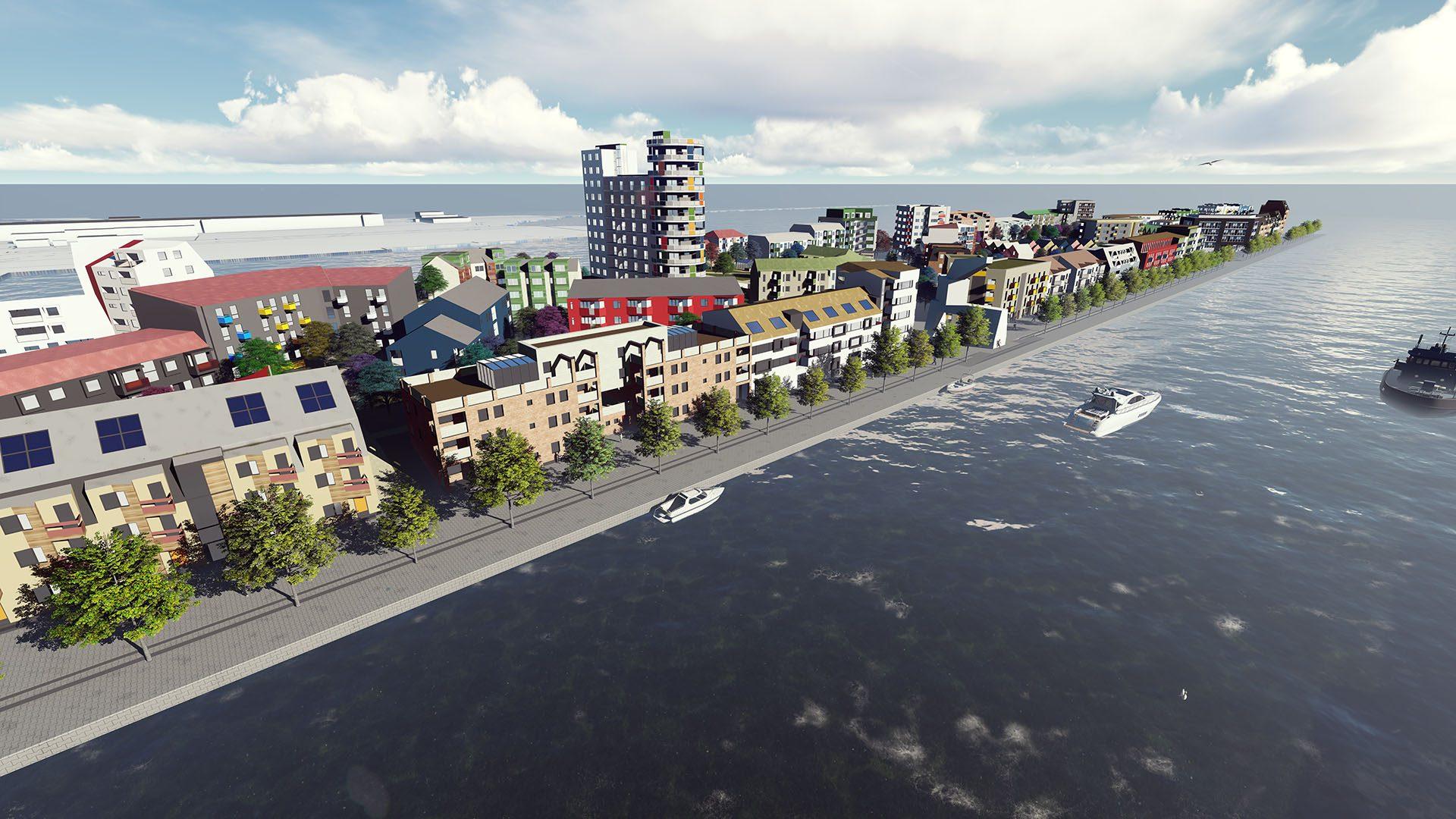 Översiktsbild över etapp 3 av byggprojektet Gävle strand