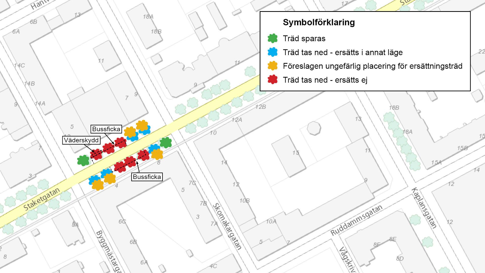 karta över de nya busshållplatserna på Staketgatan