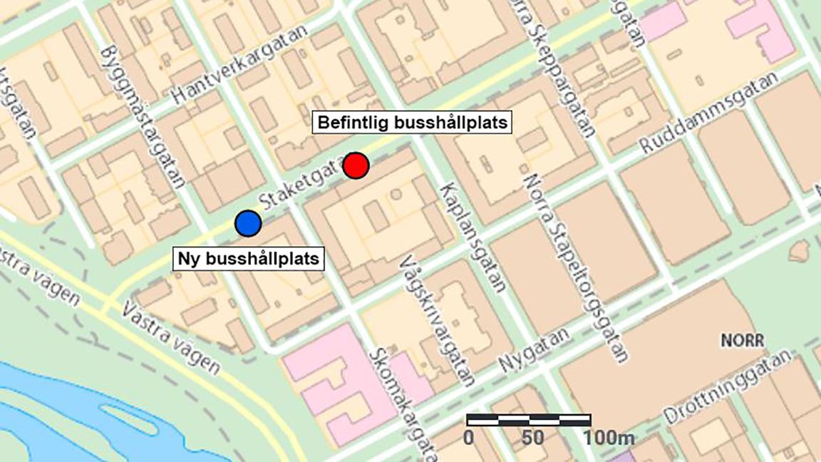 Karta som visar Staketgatan