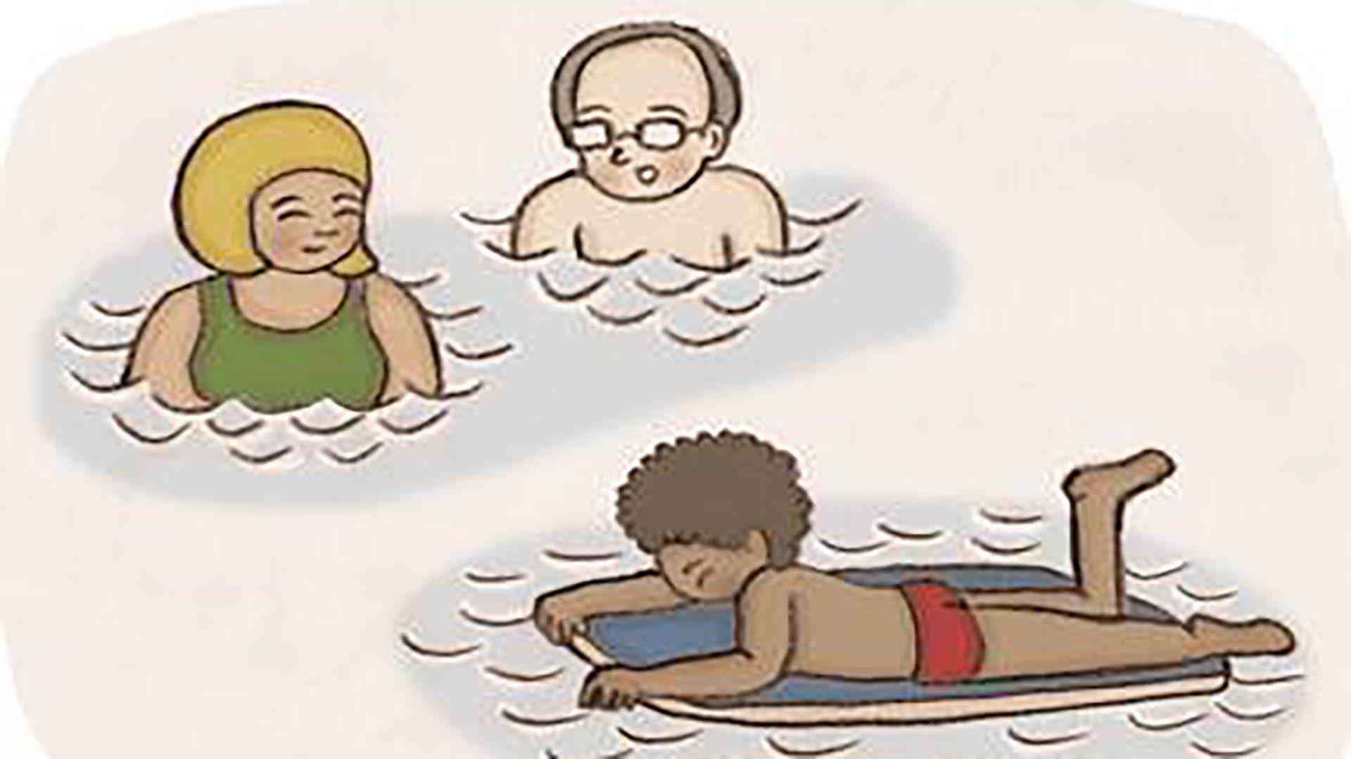 Människor som simmar