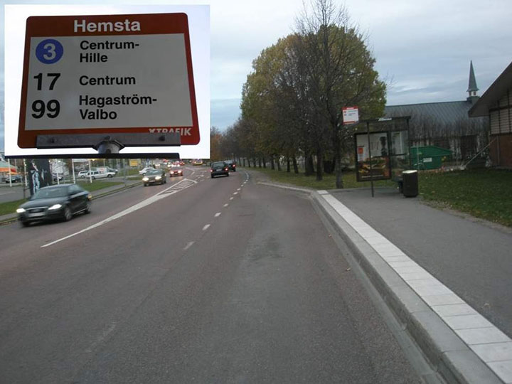 En fickhållplats i Hemsta, där bussar kan svänga in i en ficka till höger om körbanan.