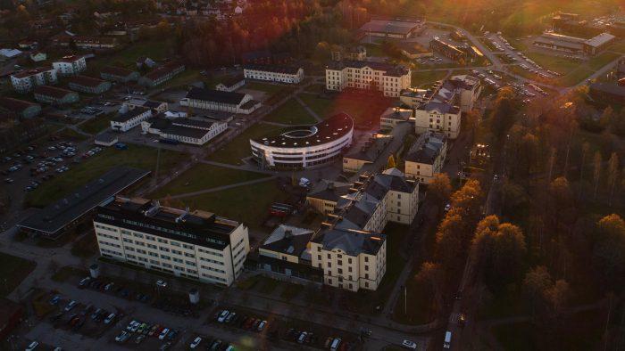 Flygbild över Högskolan i Gävle