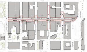 Illustration över Drottninggatan med etapper för ombyggnation