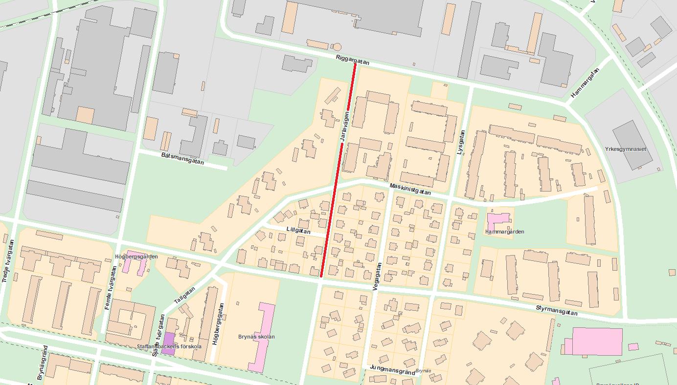 Beläggningsarbete på Jarlavägen mellan Riggargatan och Styrmansgatan