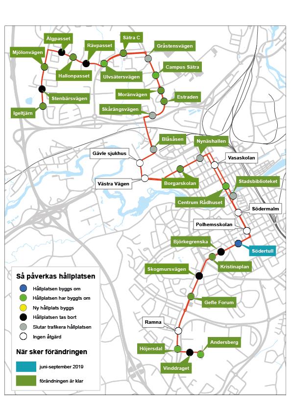 Karta över busshållplatser och åtgärder.