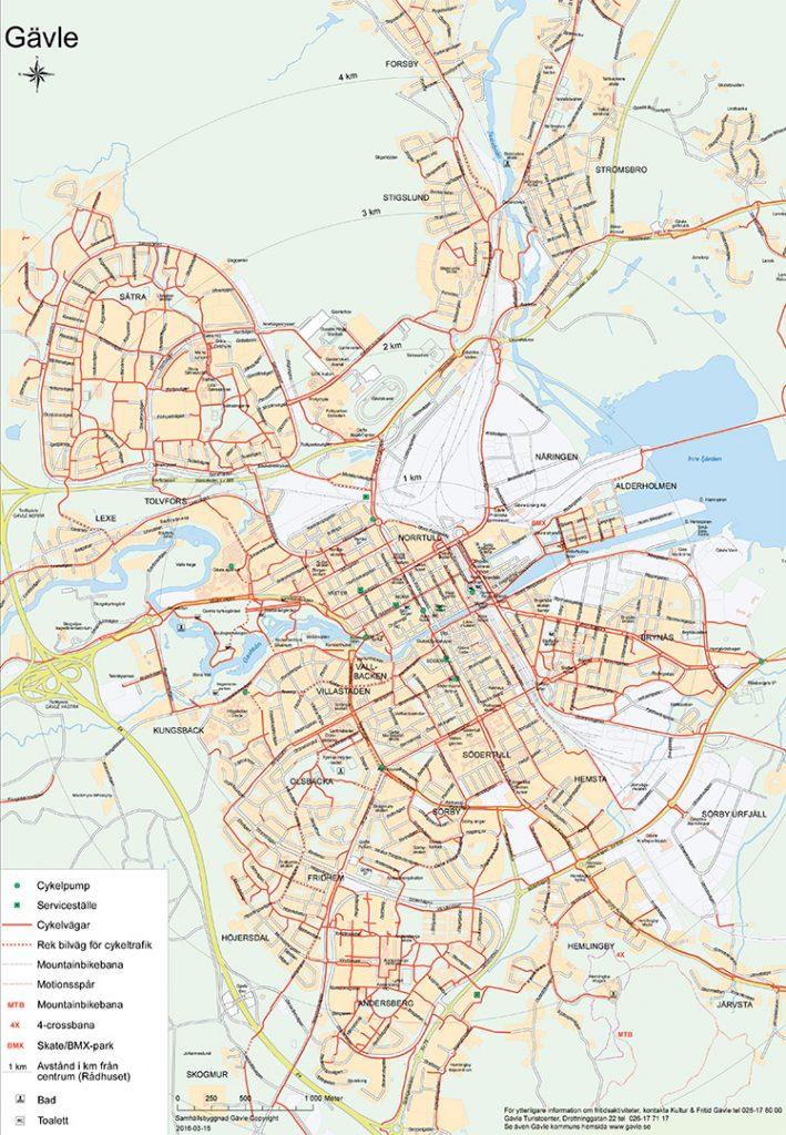 Karta över cykelvägar i Gävle cecntrum