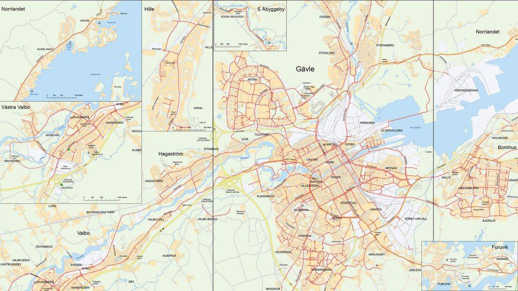Karta över cykelvägar i Gävle kommun