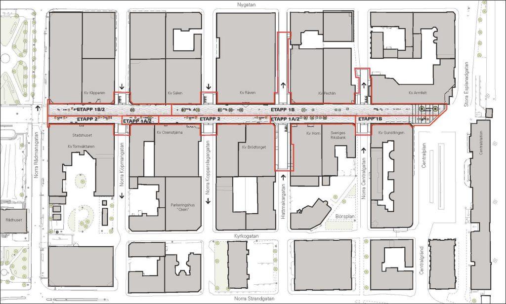 Karta över Drottninggatan med ombyggnationens etapper.