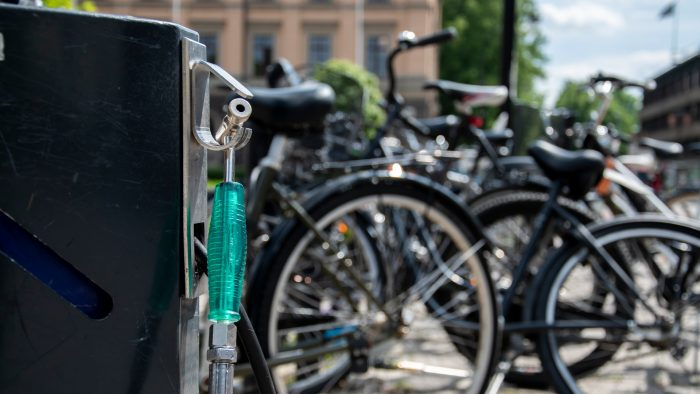 Cykelparkeringen framför Rådhuset