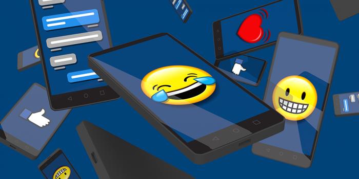 Illustrerad bild föreställande mobiltelefoner med emojis och likes bland annat