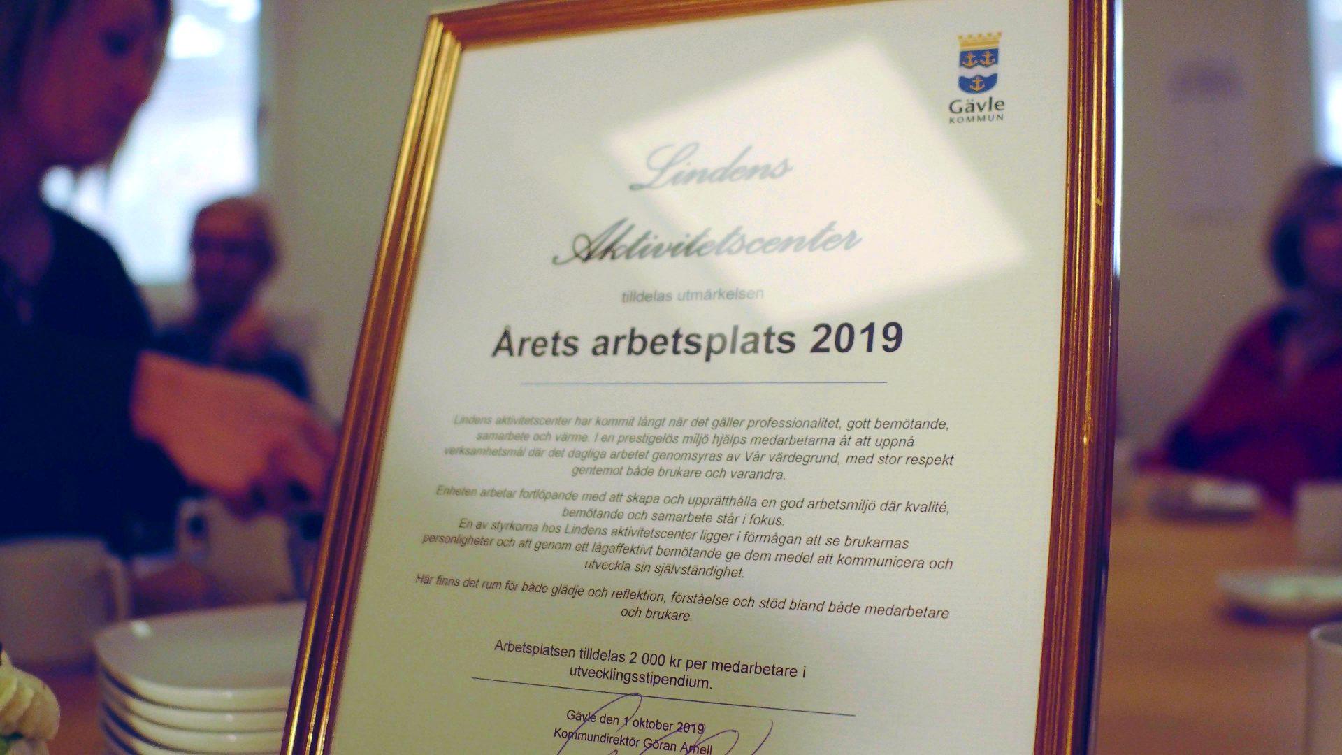 Diplom för årets arbetsplats 2019.