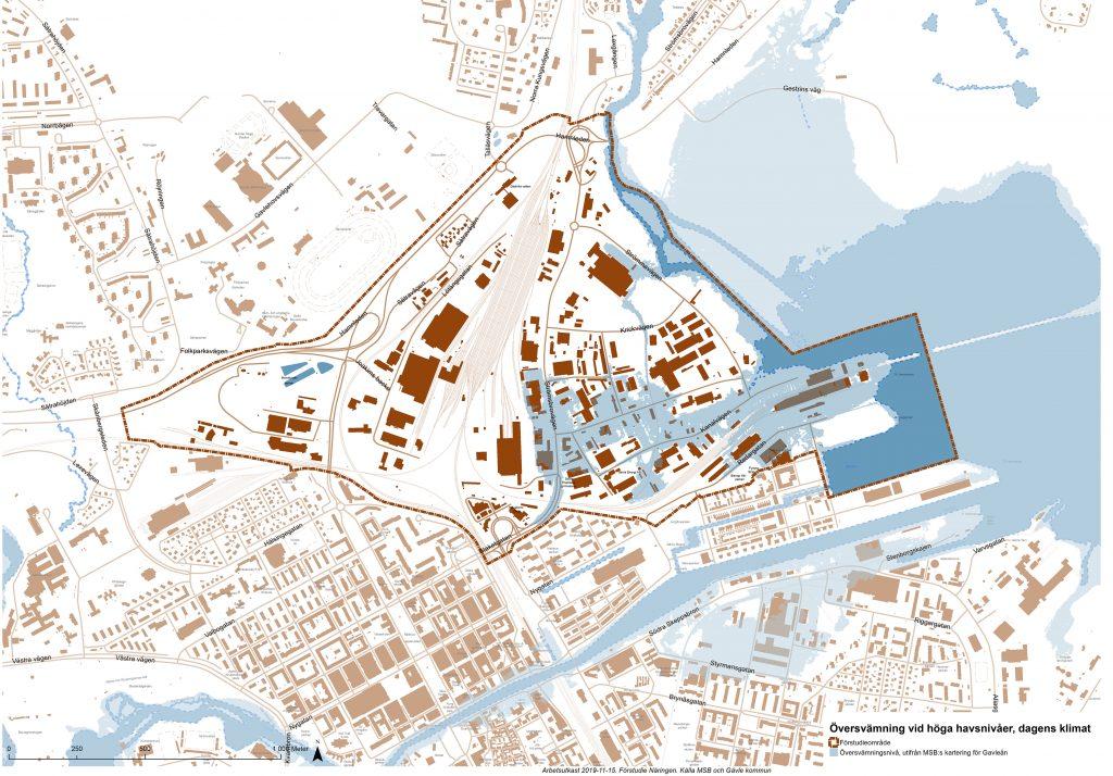 Karta över översvämningsrisk på Näringen. Kartan visar störst risk för översvämning på den sydöstra delen av Näringen och intill Testeboåns delta.