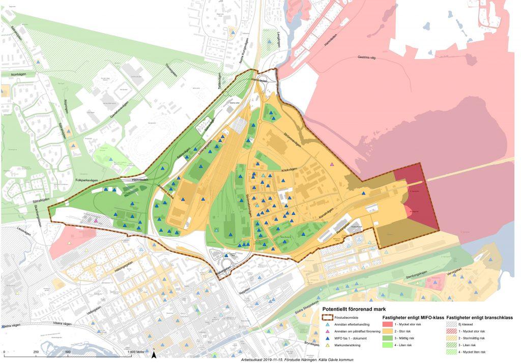 Karta över potentiellt förorenad mark på Näringen. Kartan visar generellt lägre risk i de västra delarna och högre i de östra.