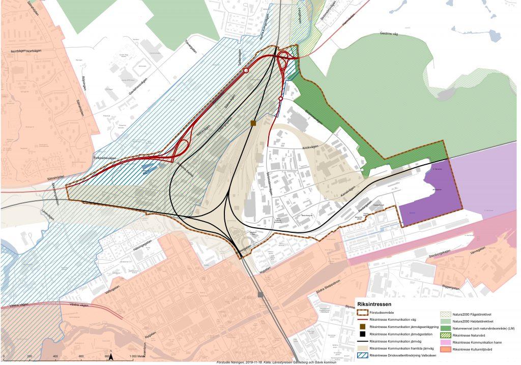Karta över riksintressen på Näringen. De riksintressen som visas gäller väg, järnvägsanläggning, järnvägsstation, järnväg, framtida järnväg, dricksvattenförsörjning, natura2000, naturreservat, naturvård, hamn och kulturmiljövård.