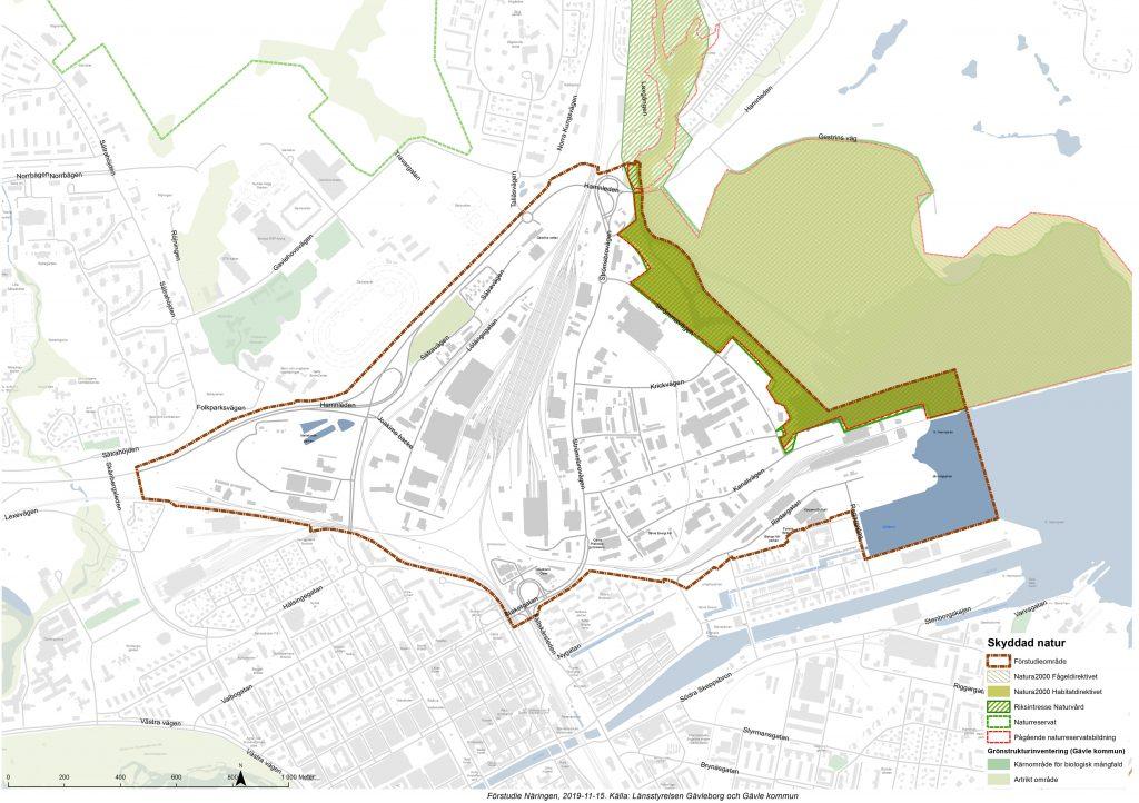Karta över skyddad natur på Näringen.