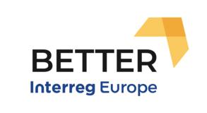 "EU-projektets logotyp med texten ""BETTER Interreg Europe."""