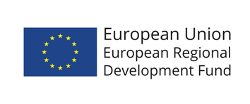 Europeiska unionens logotyp och texten European Regional Development Fund.