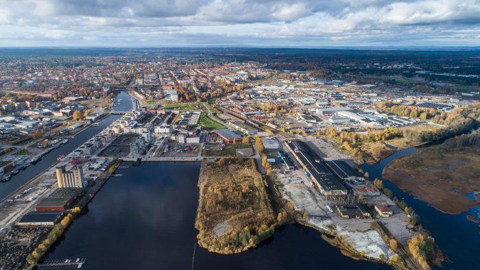 Drönarbild som visar stadsdelen Näringen ovanifrån.