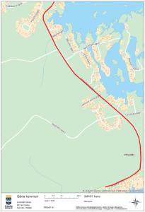 Kartan visar ny gång- och cykelväg mellan Utvalnäs och Harkskär