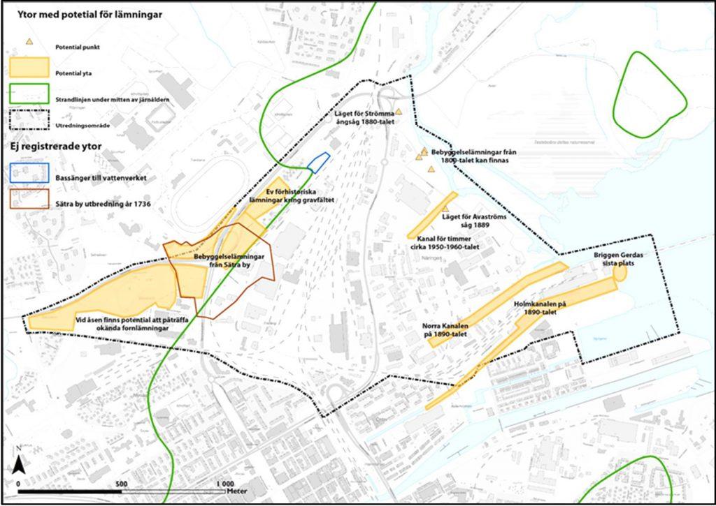 Karta över Näringen med markeringar för ytor med potential för lämningar.