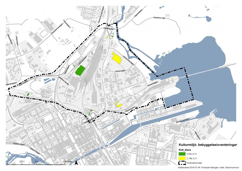 Karta över Näringen med markeringar för kulturmiljöbebyggelse.