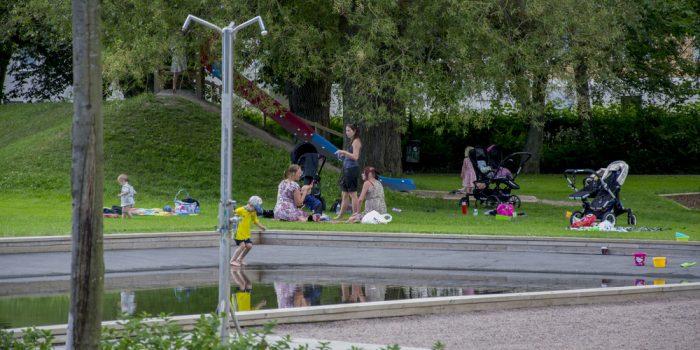 Barn och vuxna leker samt sitter på picknickfiltar i Stenebergsparken