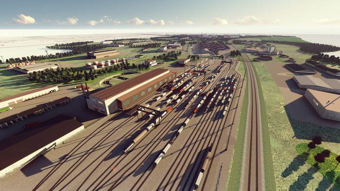 Animerad vy över järnvägsspår och logistikbyggnader.