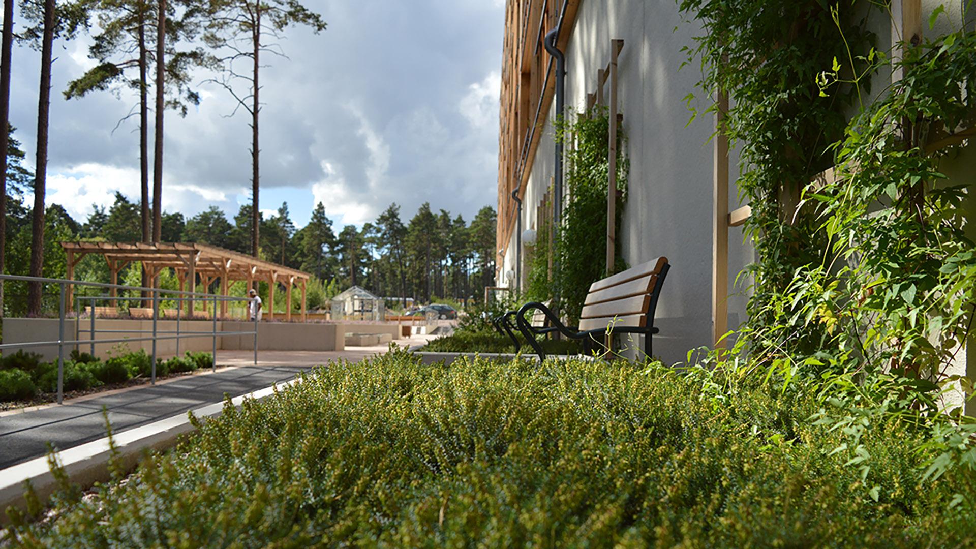 Trädgården med uteplatser och gröna växter
