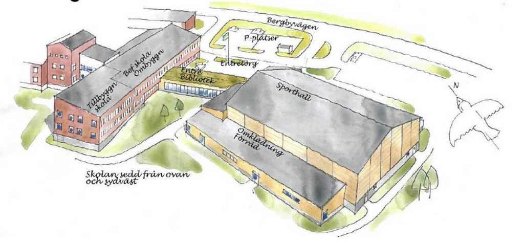 Perspektivbild över Bergby skola och allaktivitetshus