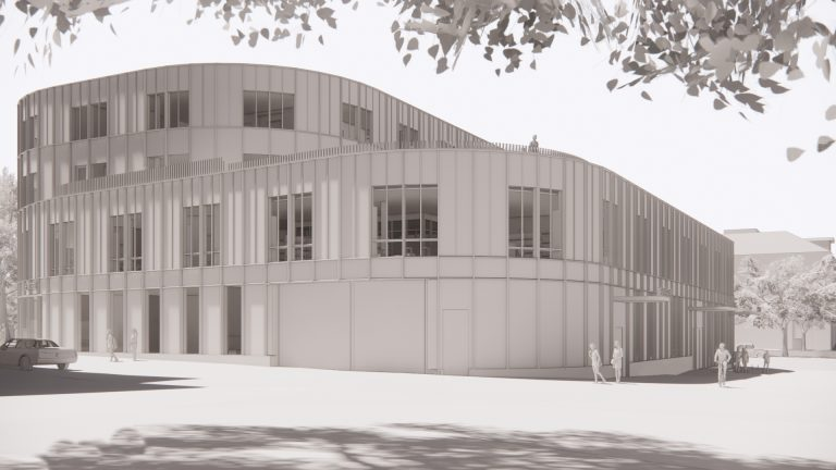 Arkitektbild på det nya kultur- och bildningscentret med rundade hörn, stora glaspartier och fyra våningsplan ovan jord.